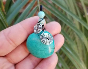 Wire-Wrapped Turquoise Pendant