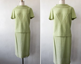 vintage knit | 1960's knit | green two piece knit | two piece knit | knit top and skirt | celery green knit two piece suit | Anne's Knit