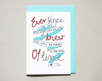 Anniversary card for boyfriend * husband love card * i love you card * love forever * size A6 comes with blue envelope