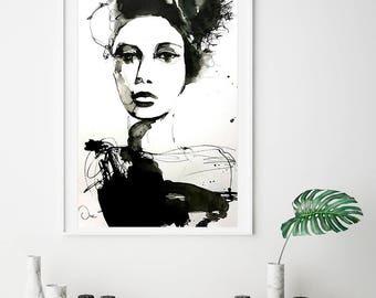 Modern Fine Art Print Portrait in black and white, giclee print, fashion illustration print, modern wall art giclee print, office wall decor