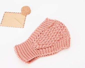 Peach Knit Ear Warmer - READY TO SHIP
