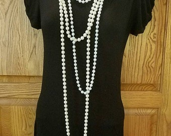 2-set Long elegant single strand knotted white faux pearl necklaces