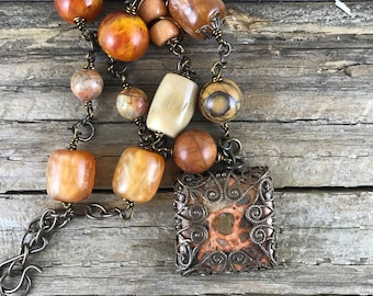 Statement Necklace, Repurposed Necklace, Assemblage Necklace, Handmade, One of a Kind Necklace