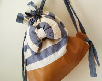 drawstring backpack - bow backpack - faux leather - striped bag