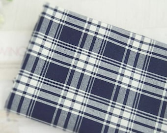 Cotton Linen Navy Plaid - By the Yard 65362