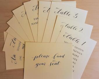 Custom Handwritten Calligraphy Table Cards for Dinner Parties, Weddings