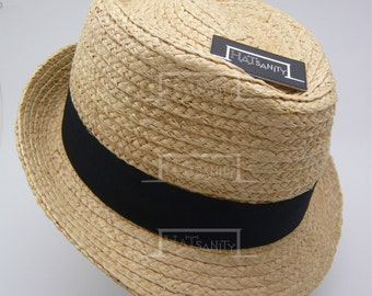 Summer Beach Natural Raffia Straw Fedora Hat
