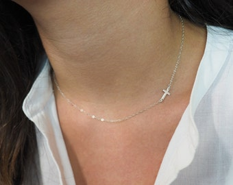 Tiny Sideways Cross Necklace, Sterling Silver Cross Necklace, Off Side Cross Necklace