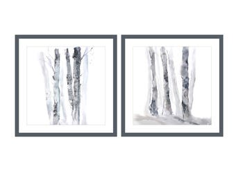 SET of 2 Square Prints, Birch Tree Art , Watercolor Set of Two Prints, Black Grey White Art, 10x10, 12x12, 13x13, 16x16, 18x18, 20x20, 24x24