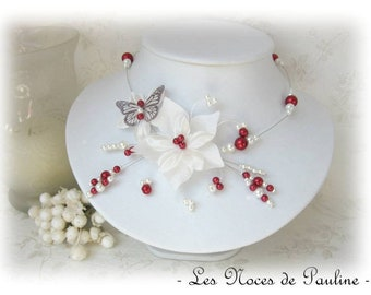 Burgundy and ivory bridal satin and Katell Butterfly flower, wedding jewelry