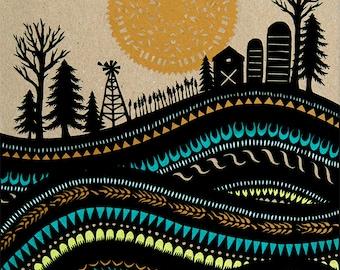 Waves of Grain - 11 x 14 inch Cut Paper Art Print