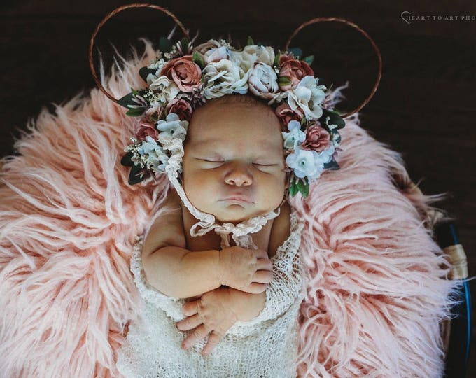 Featured listing image: Minnie Ears Flower Crown,  Floral Minnie Mouse Ears, Baby Photo Prop, Birthday Crown, Flower Crown, Minnie Mouse Ears, Photo Prop