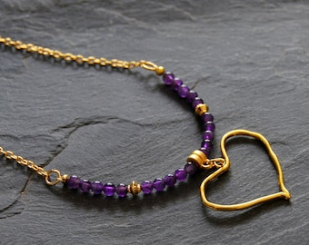 Gold heart necklace, Beaded Amethyst necklace, purple charm necklace, Boho chic necklace, Romantic jewelry, Gift for Mom, 1160