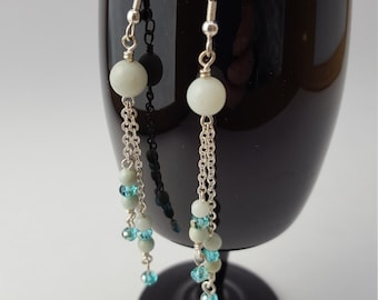 13010E Amazonite and Crystal Earrings