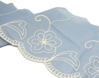 """1 Yard French Blue and Cream Scalloped Edge Trim -  5 1/4"""" wide (ACL100)"""