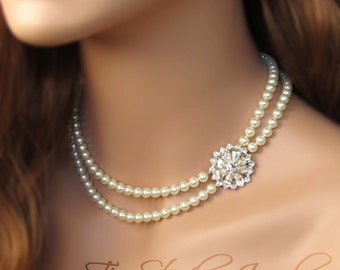 Double Strand Pearl Bridal Necklace with Offset Floral Centerpiece - JULIET