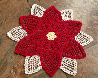 poinsettia handmade crochet lace home decor doily, table accessories