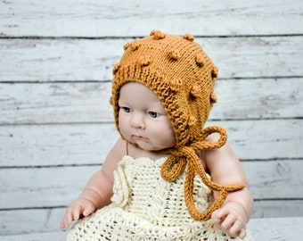 baby knit bonnet,bubble knit bonnet,rust color bonnet,popcorn bonnet,baby bubble bonnet,newborn photo prop,knit bonnet,vintage style bonnet