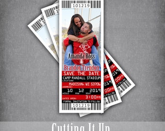 Wisconsin Badgers Save The Date Ticket, Football Wedding Magnets, Sports Theme Magnet, Georgia Bulldogs Tickets, Louisville Cardinals, DIY
