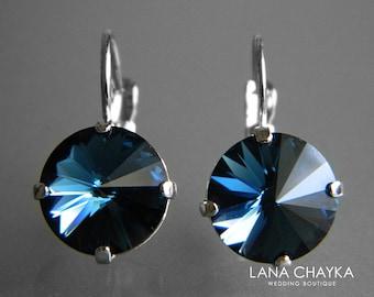 Navy Blue Crystal Earrings Dark Blue Round Crystal Earrings Swarovski Montana Rivoli Silver Earrings Crystal Leverback Bridesmaids Jewelry