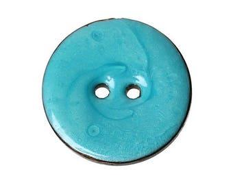 2 buttons coconut 25 mm blue enamel