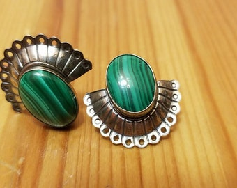 Beautiful malachite and sterling post earrings