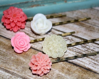 Romantic Floral Hair Pins, Floral Hair Accessories, Flower Cabochon,  Flower Hair Pins, Set of 5 Bobby Pins/clip