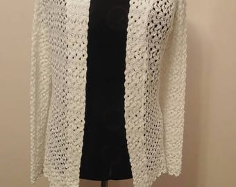 Ivory Lacy Knit Sweater Open Front Cardigan