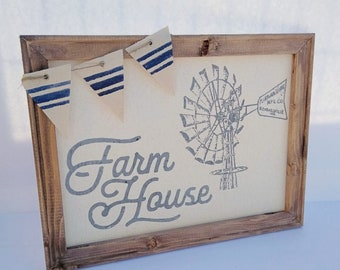 Farmhouse with windmill and blue grain sack banner reverse canvas sign decor and gift