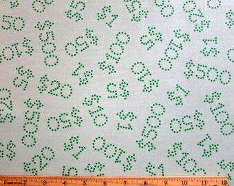 Per Yard, Monopoly Money with Light Green Background From Quilting Treasures