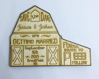 Save the Date Barn Wood Magnet, 50 barn save the dates for your wedding - engraved in wood