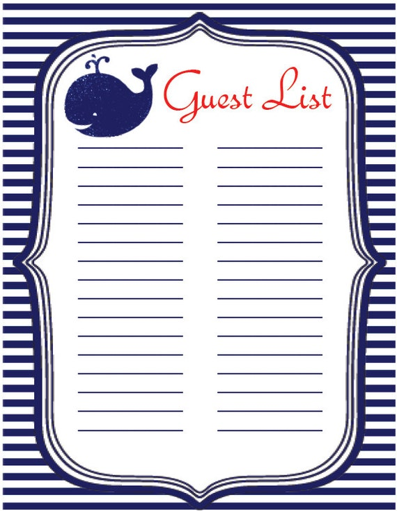 Baby Shower Instant Download Guest List Sign In Sheet