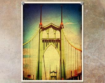 Portland Photography St. Johns Bridge Colorful--Fine Art Lomography 8.5x11