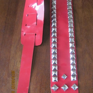Studded Leather Banjo Strap in Cherry Red Patent