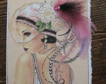 Feather hat Art Deco card