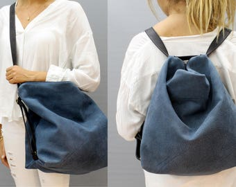 Sale!! Blue leather backpack Women leather crossbody backpack Leather hobo bag Soft Leather crossbody bag small medium large packs