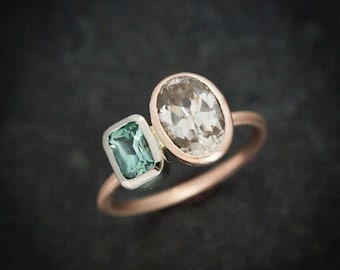Asymmetrical Blue Tourmaline Ring with Natural Champagne Zircon Mixed Metal Rose and White Gold Ring