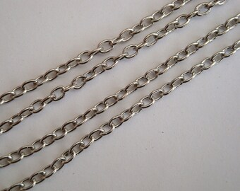 Antique silver chain, 3m, links 3.5 x 2.5mm necklace cable chain 3 metres