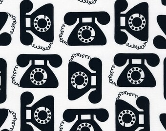 """Ann Kelle's """"This and That"""", Retro antique Telephones in Black, 1/2 yard"""