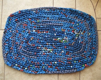 Hand Crocheted Rag Rug with Fabric
