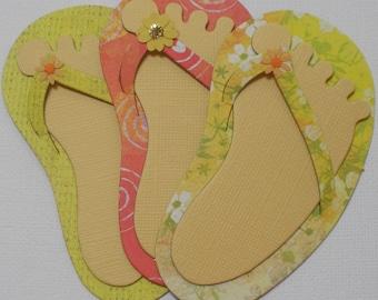 3 TROPiCAL FLIP FLOPS and FEET - Summer - CHiPBOARD Embellished Die Cuts