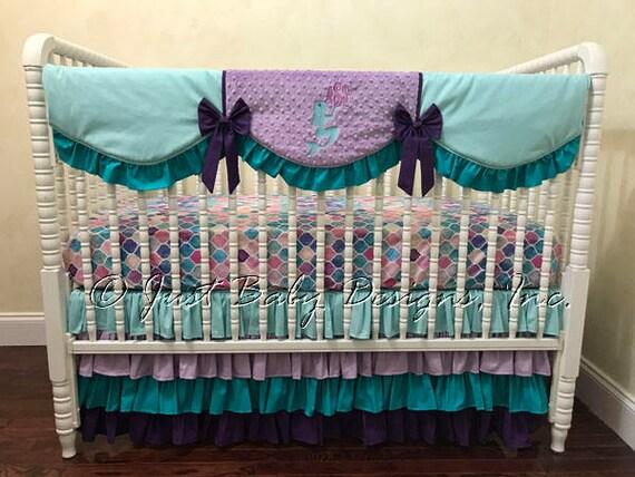 Girl Baby Bedding Set Arielle Mermaid Crib Bedding In Aqua