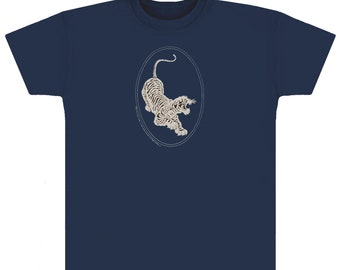 Jerry Garcia T-Shirt- Tiger Guitar emblem, screen printed with Silver metallic ink on a Navy Blue shirt. Grateful Dead, JGB, Dead and Co,