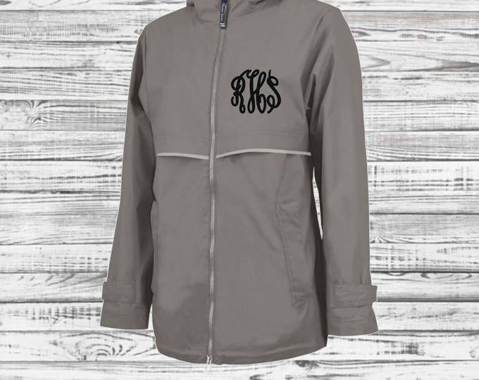 Monogram Rain Jacket - Monogrammed Rain Coat - Monogrammed Gifts - Charles River Apparel New Englander Rain Jacket - Bridesmaid Gifts