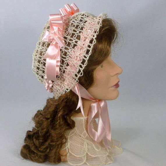 Victorian Style Hats, Bonnets, Caps, Patterns Reproduction 1800s Victorian Bonnet Hat -Double Sided Satin Ribbon-Vintage Crin and Straw  $125.00 AT vintagedancer.com