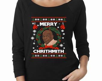 Merry Chrithmith Mike Tyson Ugly Christmas Sweater Women's Longsleeve Raglan Funny Parody Holiday Tee XMAS