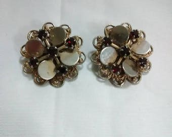 Vintage ruby and silver clip on earrings