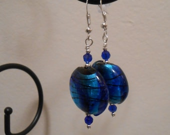 Bright Blue Glass Beaded Earrings Item No. 348
