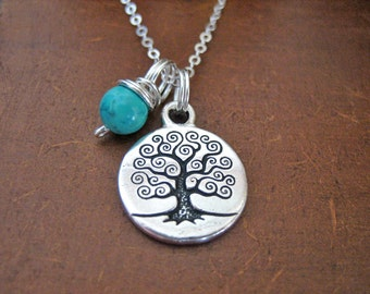 Tree of Life Necklace - Turquoise Necklace with Sterling Silver Chain, Boho Charm Necklace, Turquoise Stone for Protection and Stress