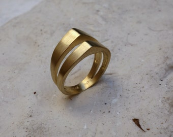 Unique Women's Wedding Band Wedding Ring Promise Ring Gold Band Geometrical Ring Fine Jewelry Different Unusual Texture Wedding Band Unique